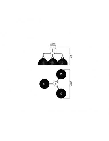Плафон Tamis - 3х42 W, 3хЕ27, Ø59 см, черен, златист