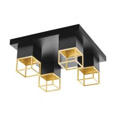 LED аплик Montebaldo 97731 - 4х5 W, 4хGU10, ДхШхВ 38х38х17 см, черен, златист