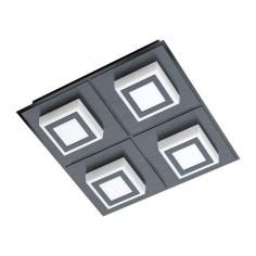 LED плафон Masiano 99364 - 4х3,3 W, 3000 К, 4х340 lm, ДхШхВ 25х25х5,5 см, черен, сатен