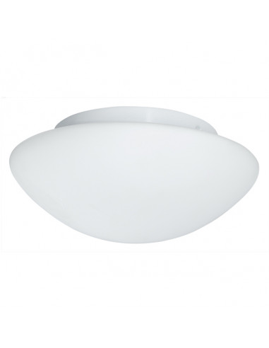 Плафон за баня Flush - 40 W, E27, IP44, Ø23 см, бял опал, стъкло