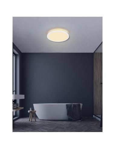 LED плафон Globo Sapana - 24 W, 3000 К, 2400 lm, IP44, ØхВ 42x2,5 см, опал, бял, сатен