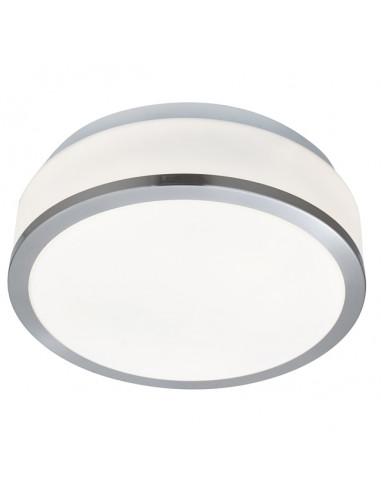 Плафон баня Discs - 2х60 W, E27, IP44, Ø23 см, бял опал, сребрист