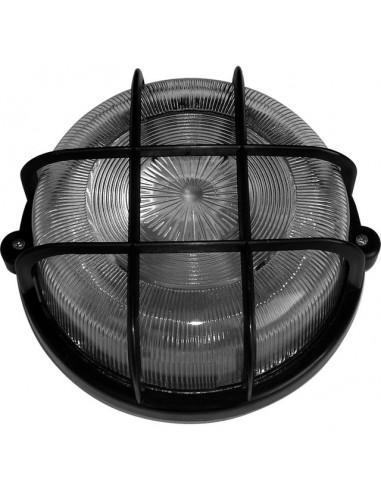 Кръгъл плафон с капак и защитна решетка - Макс 100 W, Ø20 см, E27, IP44, пластмасова решетка, черен