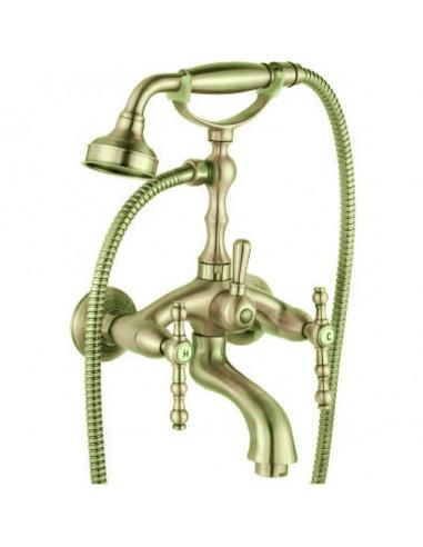 Смесител за вана и душ Сайлор - Цвят старо злато,  сшлаух и подвижен душ