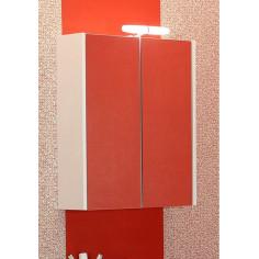 Огледален шкаф с LED осветление Класика 60 - 16х60х65 см, PVC, бял, 2 огледални врати