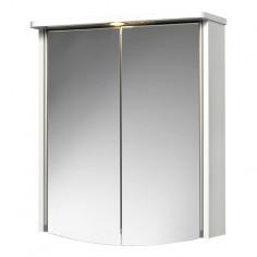 Огледален шкаф с LED осветление Akola - 22х55х66 см, MDF, бял, 2 огледални врати