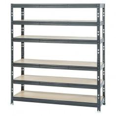Метален стелаж - 50х120х180 см, 6 MDF рафта, черен