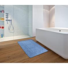 Килим за баня Ischia - 55x90 см, 100% памук, син