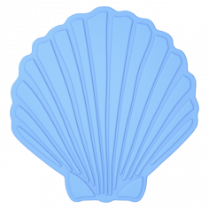 Противохлъзгаща постелка за баня Shell - 15х19 см, 5 броя, синя, PVC