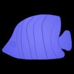 Противохлъзгаща постелка за баня Fish - 15х19 см, 5 броя, синя, PVC