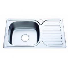 Кухненска мивка Inter Ceramic Декор 7642 - 42х76 см, алпака, сребриста, десен плот