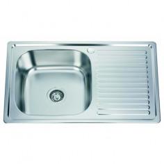 Кухненска мивка Inter Ceramic Темпико 8050PF - 50х80 см, алпака, сребриста, десен плот