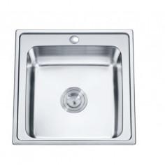 Кухненска мивка Inter Ceramic Темпико 5050 - 50х50 см, алпака, сребриста