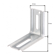 Регулируем монтажен ъгъл - ДхШхВ 50х70х30 мм, стомана, поцинкован, 90°