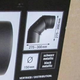 Коляно - ф150 мм - 275x300x2мм, цвят черен