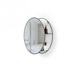 """Огледало за стенен монтаж с рафтове за аксесоари """"CIRKO"""" - цвят черен"""