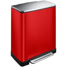 """Кош за разделно събиране на отпадъци с педал """"E-CUBE"""" - (28 + 18) литра - червен"""