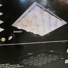LED плафон с дистанционно - 65x65x11 см, сменящи се цветове