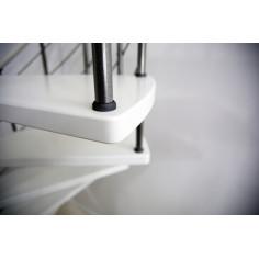 VENEZIA -  бели стъпала от бук, парапет - цвят сребро, диаметър - Ø: 120, 140 и 160 см