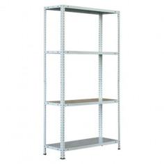 Метален стелаж - 30х80х150 см, бял, 4 рафта