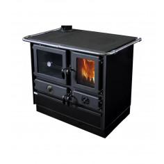Печка на твърдо гориво с водна риза Super Thermo MAGNUM - 21 kW, черна, ляв комин