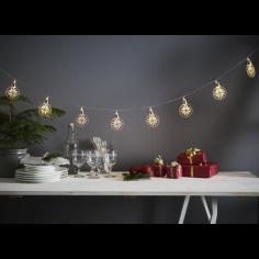 Коледна LED светлинна верига Eglo 729-15 - 0,3 W, 1,8 м, 4,5 V DC, 10 прозрачни топки и светодиоди снежинки