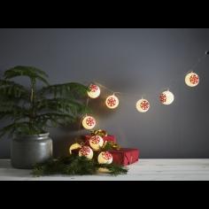 Коледна LED светлинна верига Eglo 729-16 - 0,6 W, 1,35 м, 4,5 V DC, 10 бели топки и червени снежинки