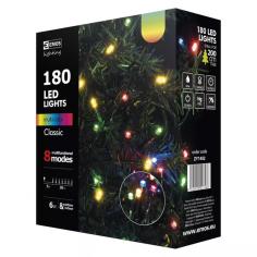 Коледна LED светлинна верига Emos RGB - 18 м, 6 W, 230 V AC, IP44, 180 светодиода