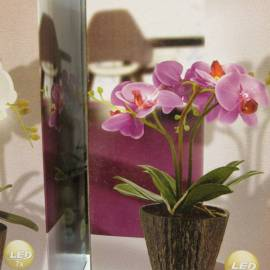 Светеща орхидея в саксия, лилава, 7 LED, 250x350 мм