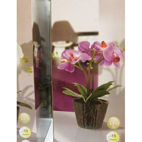 Светеща орхидея в саксия, бяла, 7 LED, 250x350 mm