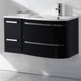 Мебели за баня 80 см, бял гланц