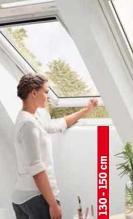 Бял покривен прозорец с долно отваряне