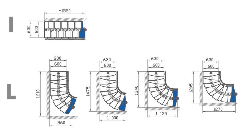 Всички възможни комбинации за конфигуриране на стълбата ATRIUM MINI PLUS като Права и Г-образна.