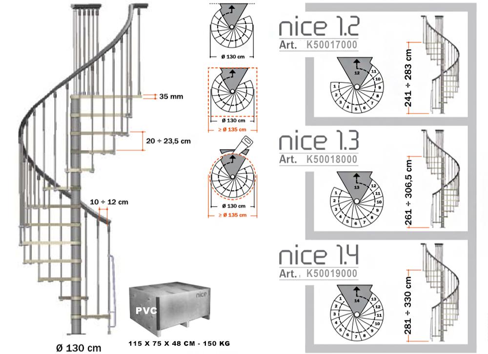 Схема на стълба НИЦА 1 - с лакирани обработени стъпала