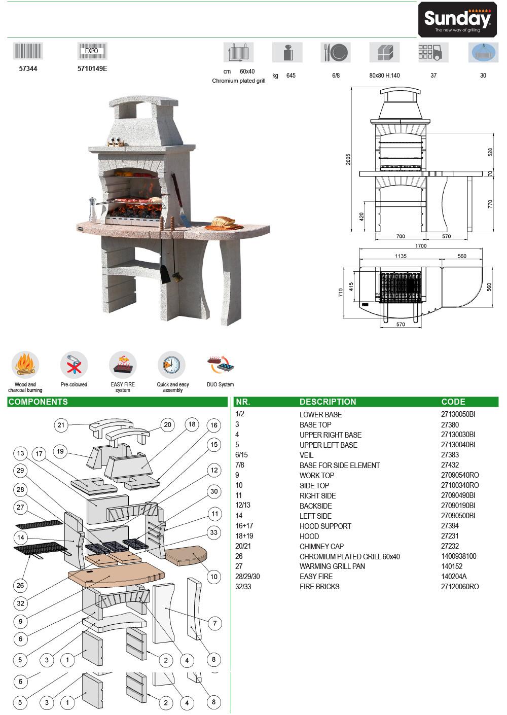 Схема на градинско барбекю, тип камина, за дърва и дървени въглища