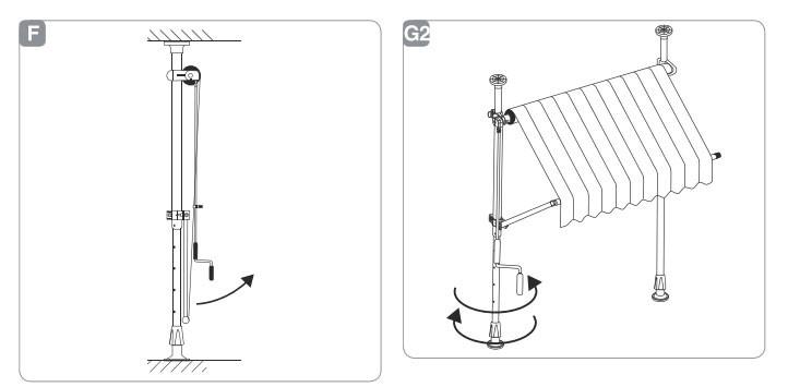 Принцип на разгъване на тента с горно и долно закрепване